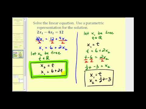 Parametric Representation of the Solution Set to a Linear Equation