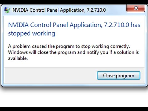 nvidia control panel application has stopped working PROBLEM FIX