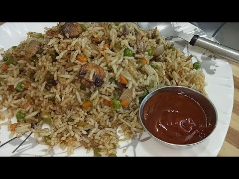 Mushroom fried rice recipe/kids lunch box ideas for school/Restaurant style mushroom  fried rice
