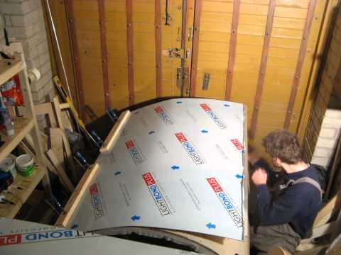 50 day. Teardrop trailer build. Gluing the galley outside with aluminum composite panel