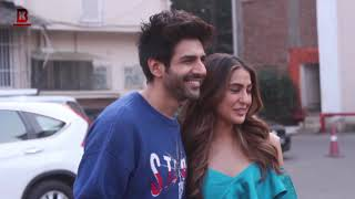 "Karthik Aryan Fun With Sara Ali Khan In Promotion Of His Movie ""Love Aaj Kal 2"" AT Mehboob Studio"