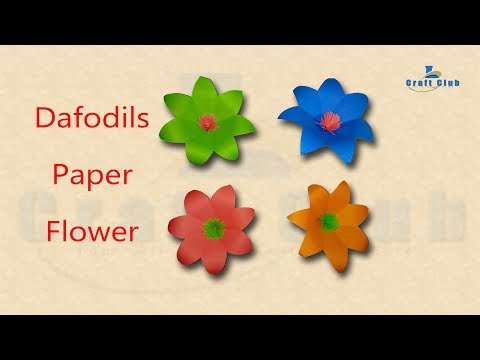 Daffodils Narcissus Paper Flower For Wall Decoration | Crafts Paper flowers | Lina's Craft Club