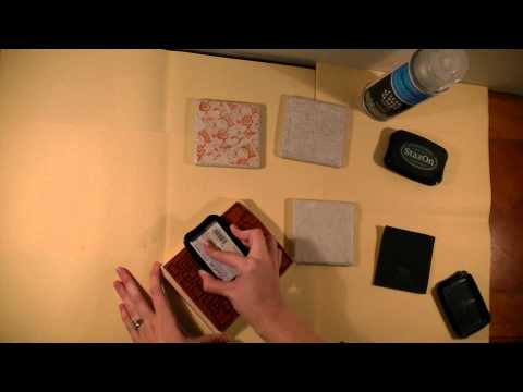 How to make coasters from stamps and tiles