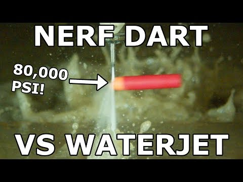 Nerf Dart and Nerf Gun Cut in Half with a 60,000 PSI Waterjet
