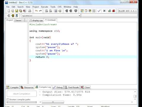 C++ Tutorial 1 for beginners Display message and use of clear screen.