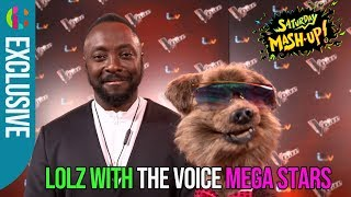 Will.i.am and Sir Tom Jones meet Hacker on The Voice red carpet