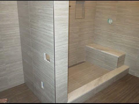 Start to finish Time lapse  Schluter  bathroom Kerdi-line linear drain Ditra heat large format tile.
