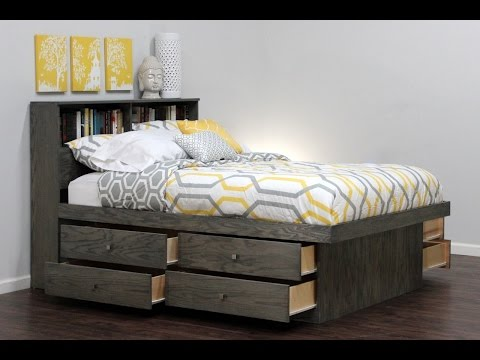 Queen Captains Bed with Bookcase Headboard