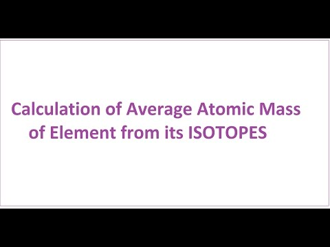 Average Atomic Mass of Element from its Isotopes