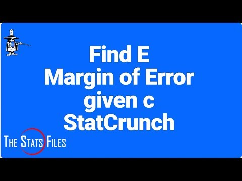 Find margin of error given sigma, confidence level, and sample size with StatCrunch