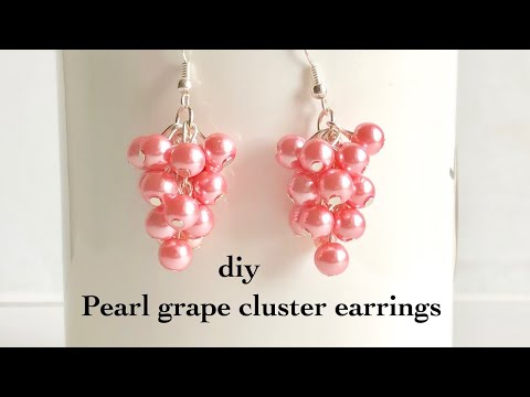 How to make pearl grape cluster earrings||Making simple and easy cluster pearl earrings grapevine