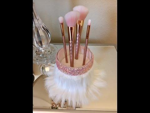 Makeup Brush Holder: Rhinestones & Faux Fur