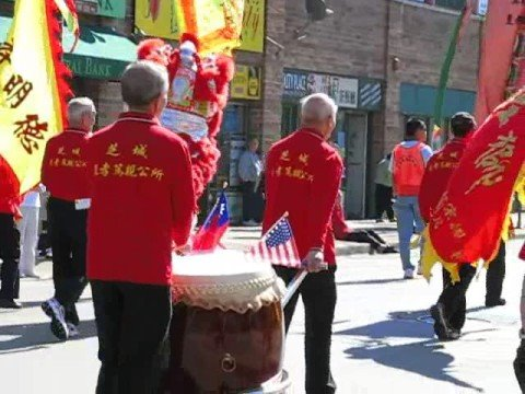 Chinese parade festival with Dragon Dance for Double Ten