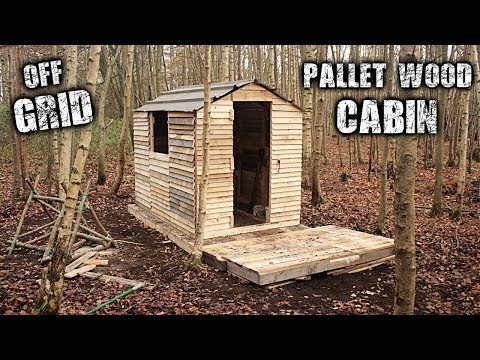 One-Man Off Grid Cabin using Free Recycled Pallet Wood - Roof & Front Porch Build