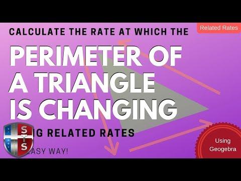 Calculus - Related Rates - Sliding Ladder - Triangle Perimeter Model using Geogebra