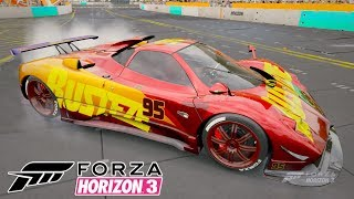 Relâmpago Mcqueen Bugatti na neve Jogo Forza Horizon 3 gameplay
