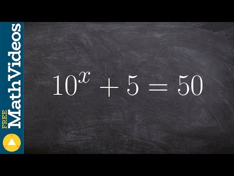 Algebra 2 Learn how to solve an exponential equation by isolating exponent and taking log 10^x +5=50