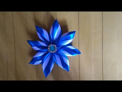 how to make easy /simple kanzashi flower tutorial, diy ribbon flower