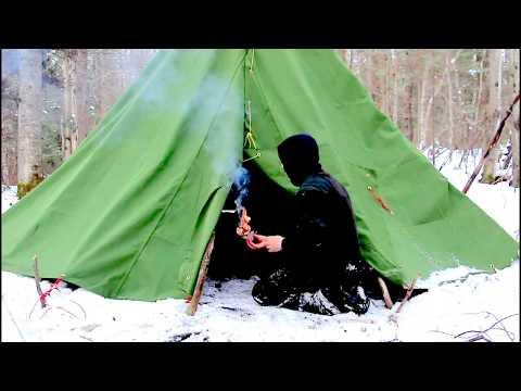 Improvised Winter Teepee with Dakota Fire