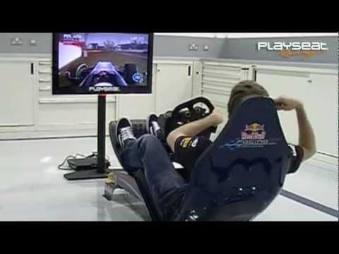 Sebastian Vettel testing the new formula 1 driving simulator Playseat RBR 1