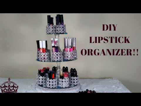 HOW TO MAKE/ DIY LIPSTICK ORGANIZER WITH CRYSTALS (VANITY)