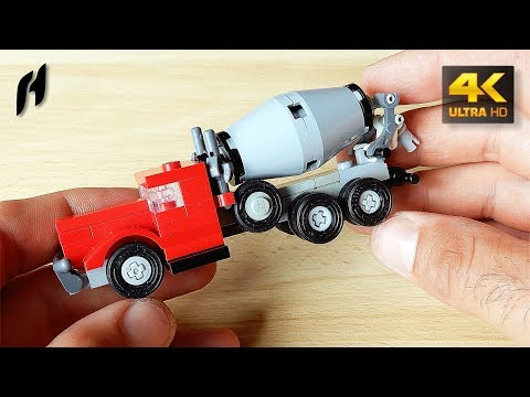 How to Build a Small Lego Concrete Mixer Truck (MOC - 4K)