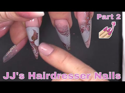 Hand Painted Silhouette Nail Art  - Full Look Hairdresser Design Part 2