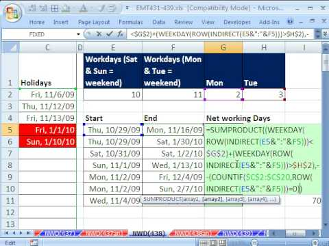 Excel Magic Trick 438: Counting Workdays Without NETWORKDAYS Function (Weekend is not Sat. & Sun.)
