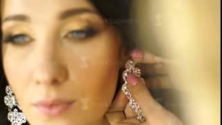 Stylist model wears earrings in the ears