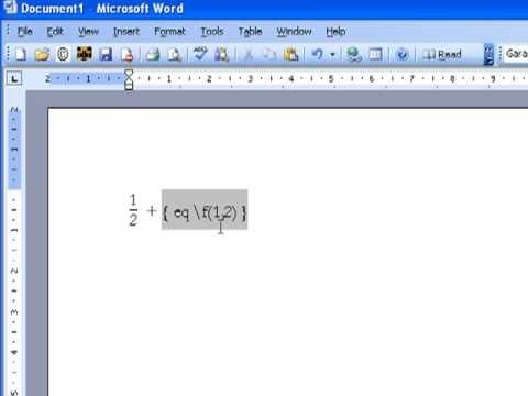 Creating a Fraction in Microsoft Word 2003 and 2007