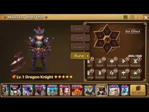 Summoners War: Sky Arena - Fire Dragon Knight Runes