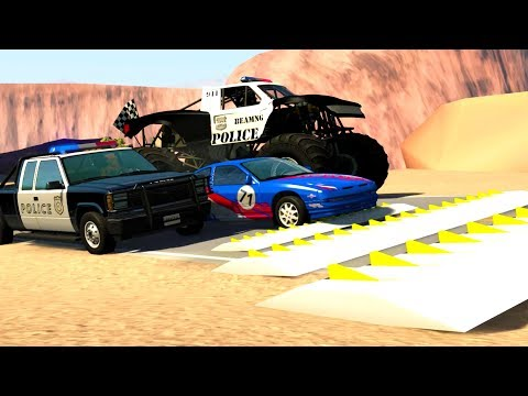POLICE CHASE USING SEQUENTIALLY LARGER SPIKE STRIPS! - BeamNG Drive Crash Test Compilation