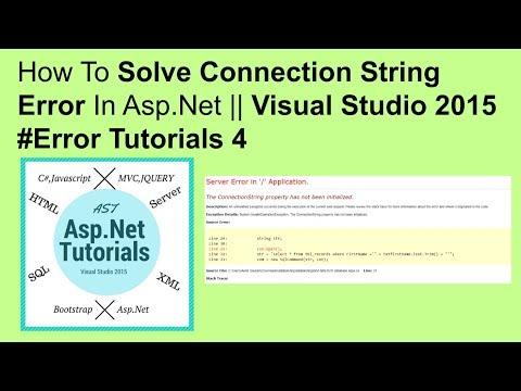 How to solve connection string error in asp.net || visual studio 2015 #error tutorials 4