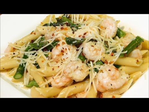 Garlic Shrimp with Asparagus and Penne Pasta!!