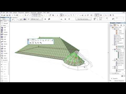 Complex roofs in ARCHICAD - Adding a tower to the roof