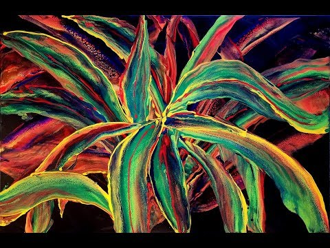 DA53 Acrylic Pour Swiping Request for a Croton Plant using DecoArt & Owatrol with Sandra Lett 040818