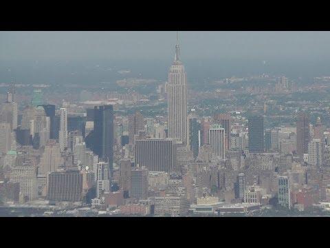 Landing at Newark Airport, view of New York City