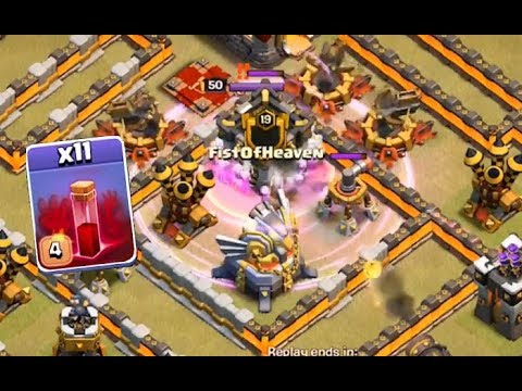 TH11 War Use 6 Skeleton Spells To Attack Queen + Clan Castle + Eagle Artillery Clash of Clans