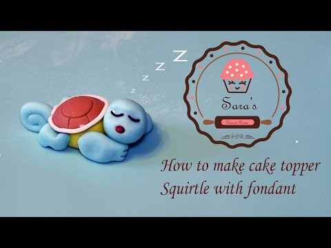 How to make Poke Squirtle as cake topper with fondant