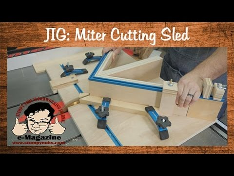 Build a homemade table saw sled for cutting miters and picture frames