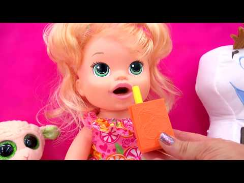 Baby Alive Super Snacks Snackin' Sara  Feed Doh Food Doll - Toy Play Video