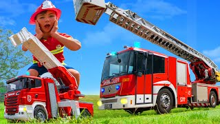 Histoires de pompiers, de camions à ordures, de tracteurs - jouets pour enfants Fire truck for kids