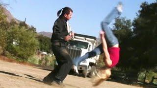 2 Gymnast Girls vs 1 Martial Arts Guy | Action Movie Scene
