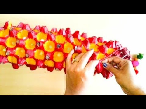 HOW TO MAKE  EGG TRAY/EGG CARTON WALL HANGING/LAMP/WIND CHIME/LANTERN- DIWALI DECOR-KUTCHI STYLE