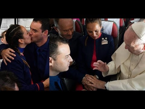 Pope performs first marriage on board a papal flight 1