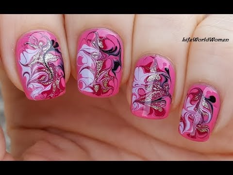 NEEDLE NAIL ART #37 / Pink Based Elegant Dry MARBLE NAILS
