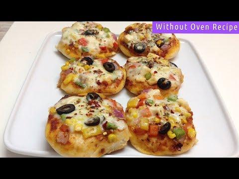Mini veggie Pizza Without Oven - Kids Favorite Mini Pizza - Veggie Paneer Pizza Recipe