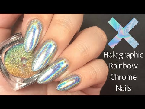 💿 Holographic Chrome Powder Nail Tutorial! 💿