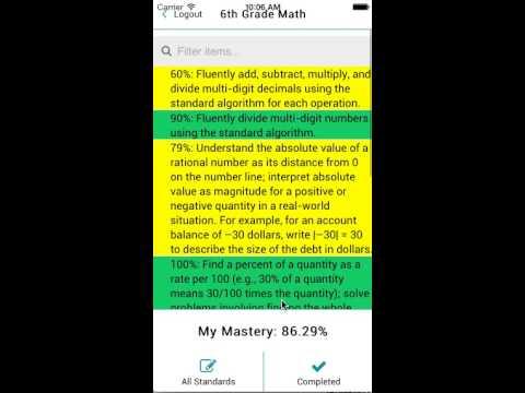 6th Grade Math Mastery Tracker