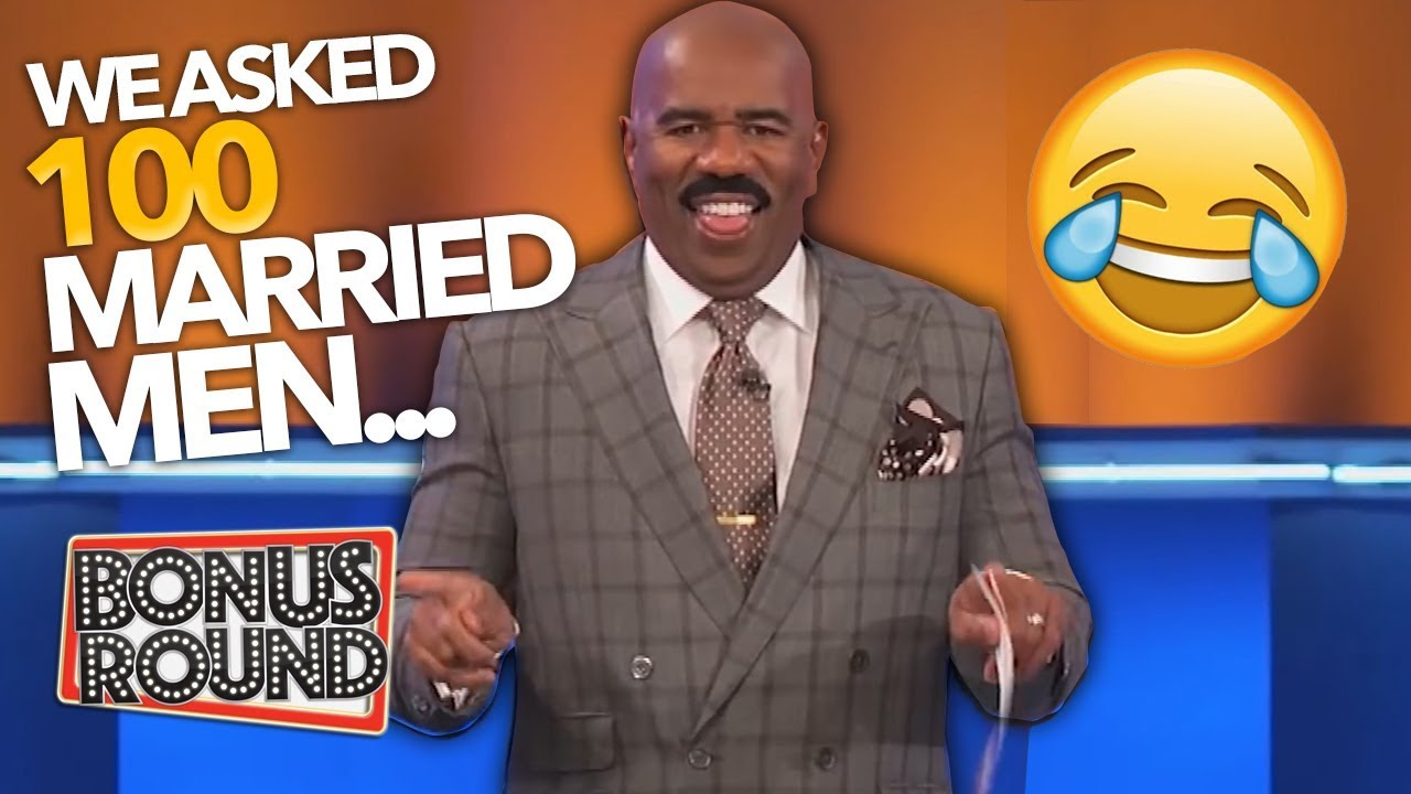 STEVE HARVEY Asks 'We Asked 100 Married Men' Funny Family Feud Answers!